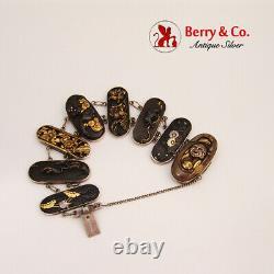Japanese Meiji Shakudo Panel Link Bracelet Mixed Metals Sterling Silver