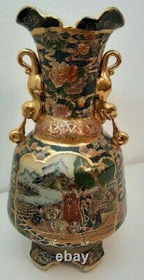 Japanese Satsuma Fine Porcelain Vase Moriage/Gold Gilt 14