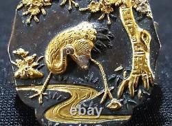 Japanese gold vintage Victorian oriental antique Fichu scarf clasp