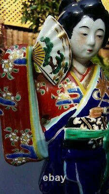 Japanese old hand painted Kutani lady statue in fine colour