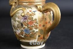 Lovely Japanese satsuma Dragon Teapot with Fine Design of Cranes