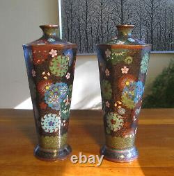 Pair Japanese Cloisonne Vases Antique Hexagonal Very Fine Quality
