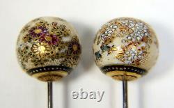 Pair Of Fine Antique Porcelain Japanese Satsuma Hatpins / Hat Pins