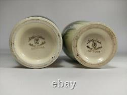 Pair Of Vintage Soko Satsuma Japanese Vases, Very Fine Quality Hand Painted 16cm