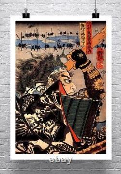 Samurai Amakasu 1798 Vintage Japanese Fine Art Canvas Giclee Print 24x32 in