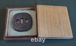 Very Fine Japanese Edo Period 18 19th Century Gold Inlay Tsuba in Box