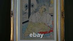 Very Fine Japanese Woodblock of Samurai Sitting Framed