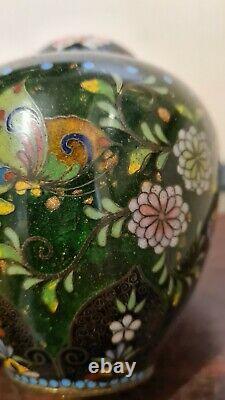 Very Fine Meiji Period Cloisonné Enamel Brass Floral Pheonix Vase Japanese