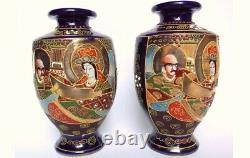 Very Fine Pair Of Satsuma Vases Signed Seizan (Red Mark) Meiji / Taisho Period
