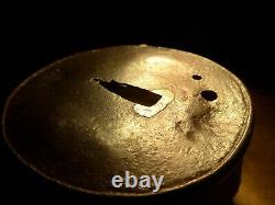 Very Heavy Large Fine Classic Saotome Myochin Iron Japanese Tsuba Sword Samurai