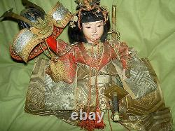 Very fine, antique JAPANESE Onna-Bugeisha, female warrior doll with glass eyes