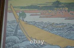 Vintage Fine Japanese Silk Embroidery, Famous Japanese Print Mt Fuji Boat Scene