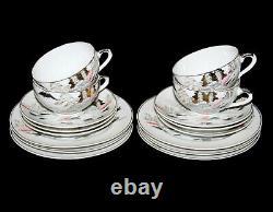 Vintage Kutani Japanese Fujiyama Mount Fuji Geisha Lithophane Fine China Tea Set