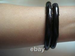 Vtg Antique Gift1800's Japanese Natural Black Coral 8 Banl Bracelet Free Ship