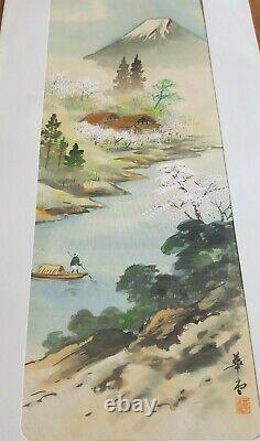 3 Antique Signé Japonais Beaux Art Oriental Aquarelles Panneaux En Soie Monture Fuji