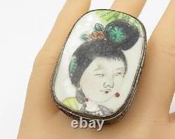 925 Silver Antique Geisha Painting Large Royal Ring Sz 6 R4775