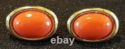 9 Carats D'or Massif Et De Corail Orange Vintage Art Déco Paire Antique De Boucles D'oreilles