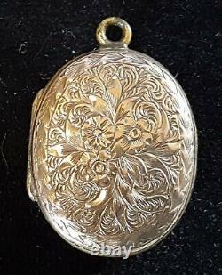 9 Carats Or Massif Vintage Victorien Antique Médaillon Ovale Pendentif Tête