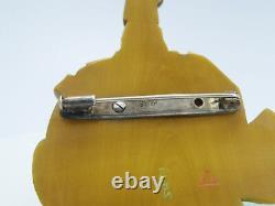 Ancien Artisan Signé Artisan Japonais Taille À La Main Sculptée Sterling Silver Brooch Pin