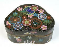 Ancienne Boîte Japonaise Fine Cloisonne Meiji Période Fin 19ec