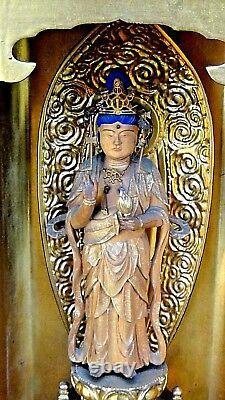 Ancienne Période D'edo Japonais Bois Sculpté Zushi Fine Traveling Sanctuaire