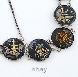 Années 1930 Fabriqué À La Main Vintage Japonais Sterling Et MIX Metal Art Work Bracelet 7 L