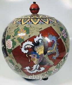 Antique 19ème Siècle Fine Japonaise Grande Cloisonne Enamel Jar Avec LID 9