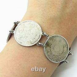 Antique 925 Sterling Silver Japanese Yen Coin Link Bracelet 7