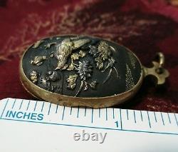 Antique Années 1880 Victorienne Shakudo Locket Pendentif Poulet Coq Japonais Rare
