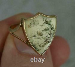 Antique Chinois Japonais Anneau D'or Miniature Master Carving Art Painting