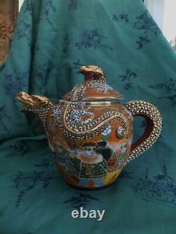 Antique Dai Nippon Dragon Théière Kutani Fine Porcelaine Or & 5 Couleurs 1920, S