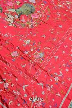 Antique Extrêmement Fine Japonais / Chinese Broderie En Soie Table/coupe De Lit