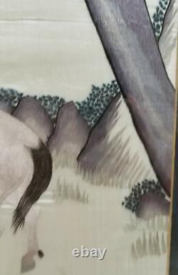 Antique Fine Chinois Japonais Brodé Panneau De Broderie Monkey Horse