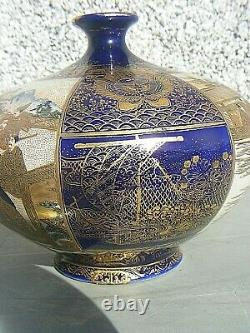 Antique Fine Satsuma Vase Shimazu Hododa Meji Période