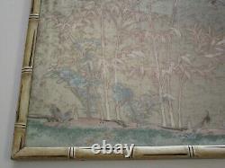 Antique Fine Vieux Chinois Ou Japonais Peinture Floral Paysage Oiseaux Inusuel Vieux