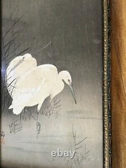 Antique Japanese Woodblock Print Cranes Original Signé Encadré Japon Fine Art