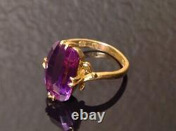 Antique Japonais Art Déco 22k Yellow Gold Pink Sapphire Ring Vers 1930