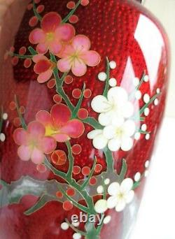 Antique Japonais Cloisonne Rouge Ginbari Fil D'argent Fine Bamboo Bird Plum Signé