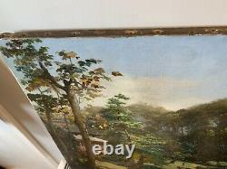 Antique Japonais Fine Art Grand Original Old Master 18ème Siècle Peinture À L'huile