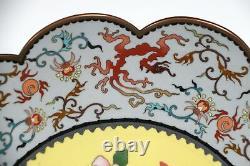 Antique Japonais Fine Cloisonne Lobed Rim Plate Meiji Period Dragon & Pivoie 11.7
