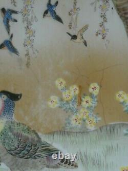 Antique Japonais Fine Kutani Émaillé Gilt Porcelaine Grand Bol, Meiji, Signé