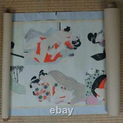 Antique Japonais Fine Shunga Peinture De Soie D'art Érotique Des Années 1880 Japon Original