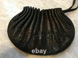 Antique Japonais Inro Wizard Tabac En Cuir Pouch Original Edo Inro Fine