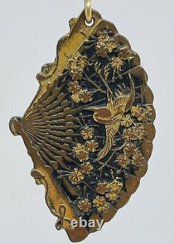 Antique Japonais Shakudo 14k Or Métal Mélangé Crane Floral Fan Boucles D'oreilles Dangle