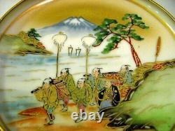 Antique Meiji Fine Japonais Kutani Ensemble De 6 Plaques Latérales, Peintes À La Main, Signées