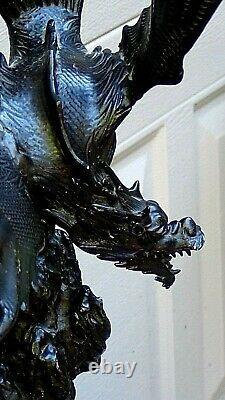 Antique Meiji Japonais Okimono Beaux Bronze Statue De Dragon Rose Sur Base De Marbre