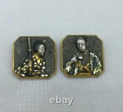 Antique Meiji Japonais Shakudo Broches Geisha Samurai Mixed Metal Signé
