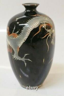 Antique Meiji Période Japonaise Fine Cloisonné Vase 3 Toe Dragon Design
