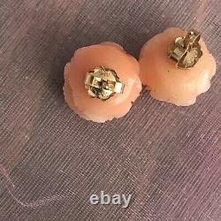 Antique Vintage 14k Japonais Sculpté Angel Skin Coral Peony Flower Boucles D'oreilles