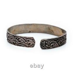 Antique Vintage Deco Sterling Silver Japanese Great Wave Kanagawa Bracelet 22.2g